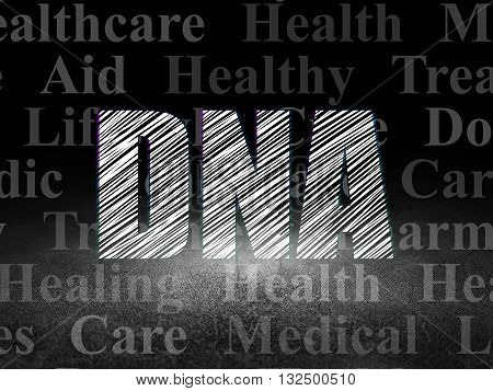 Health concept: Glowing text DNA in grunge dark room with Dirty Floor, black background with  Tag Cloud