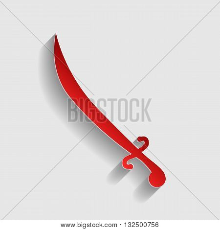 Sword sign illustration. Red paper style icon with shadow on gray.