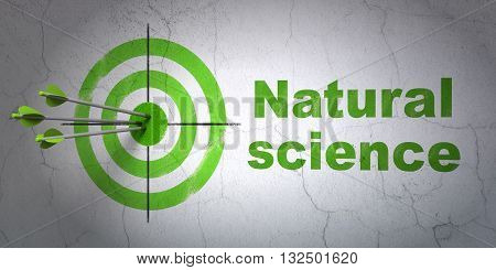 Success Science concept: arrows hitting the center of target, Green Natural Science on wall background, 3D rendering