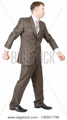 Businessman in suit ready to work isolated on white background