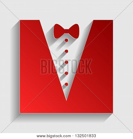 Tuxedo with bow silhouette. Red paper style icon with shadow on gray.