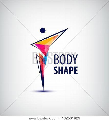 Vector man logo, human body logo, faceted geometric stylized human logo.