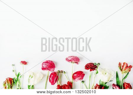Pink and white roses or ranunculus and tulips isolated on white background. Flat lay top view