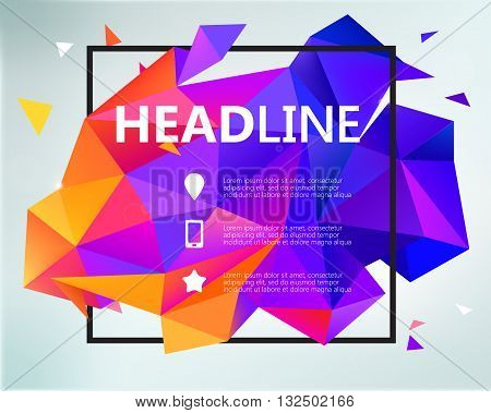 Vector abstract colorful purple and orange faceted crystal banner, 3d shape with triangles, geometric. Poster, Banner, Brochure Template design. Modern crystal 3d shape with text space and square