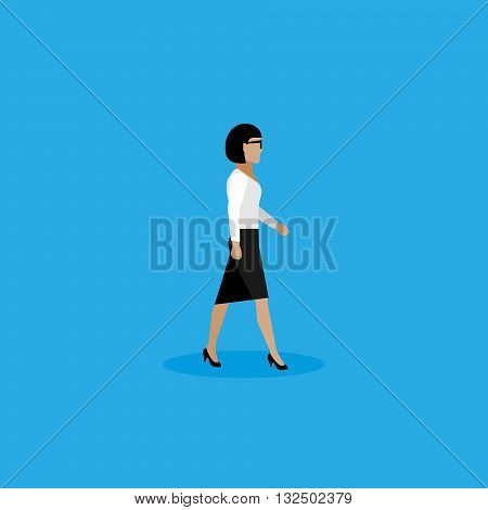 businesswoman. vector flat  illustration of businesswoman or politician. walking woman