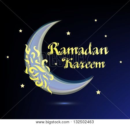 Ramadan Kareem beautiful greeting card - background with ornate moon. ramadan celebration, ramadan islamic holiday poster, ramadan arabic, ramadan traditional