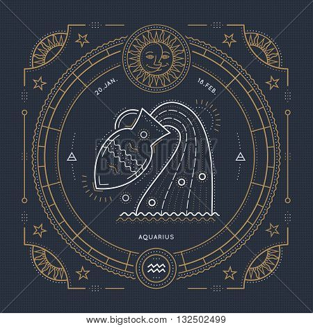 Vintage thin line Aquarius zodiac sign label. Retro vector astrological symbol mystic sacred geometry element emblem logo. Stroke outline illustration.