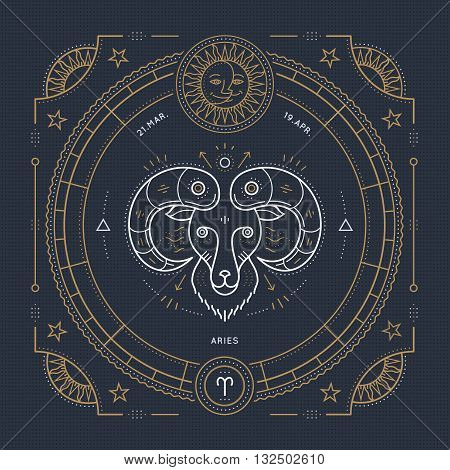 Vintage thin line Aries zodiac sign label. Retro vector astrological symbol mystic sacred geometry element emblem logo. Stroke outline illustration.