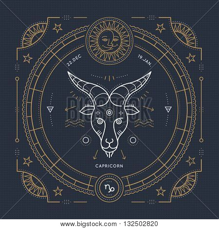 Vintage thin line Capricorn zodiac sign label. Retro vector astrological symbol mystic sacred geometry element emblem logo. Stroke outline illustration.