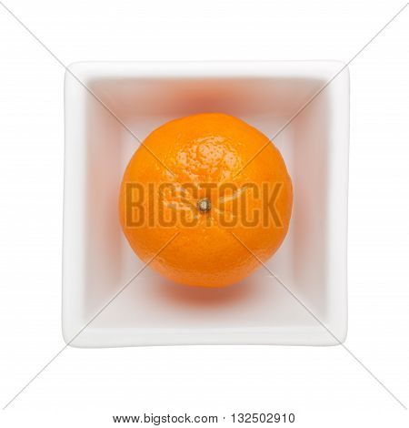 Mandarin orange in a square bowl isolated on white background