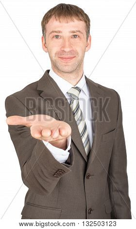 Smiling man giving hand isolated on white background