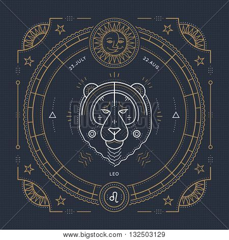 Vintage thin line Leo zodiac sign label. Retro vector astrological symbol mystic sacred geometry element emblem logo. Stroke outline illustration.