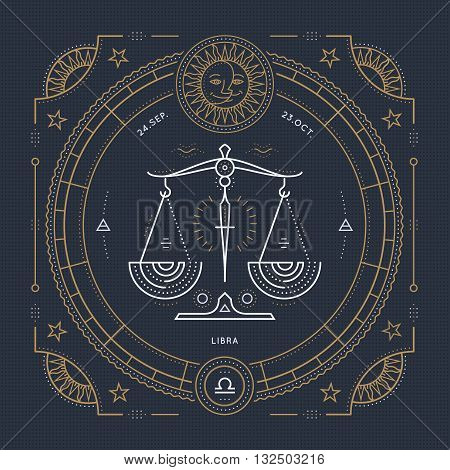 Vintage thin line Libra zodiac sign label. Retro vector astrological symbol mystic sacred geometry element emblem logo. Stroke outline illustration.