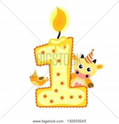 Happy First Birthday Candle and Animals Isolated on white, birthday 1 year, children's card. greeting card vector