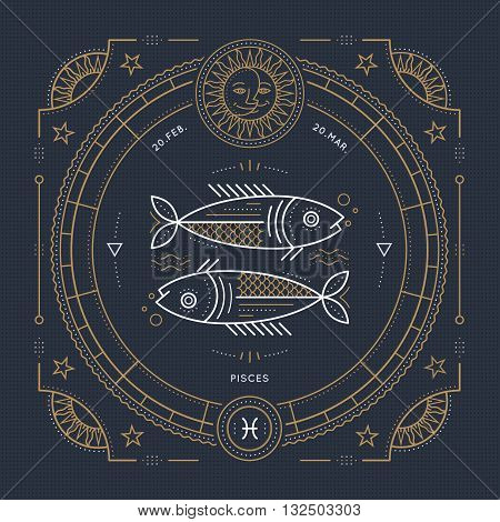 Vintage thin line Pisces zodiac sign label. Retro vector astrological symbol mystic sacred geometry element emblem logo. Stroke outline illustration.