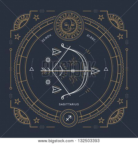 Vintage thin line Sagittarius zodiac sign label. Retro vector astrological symbol mystic sacred geometry element emblem logo. Stroke outline illustration.