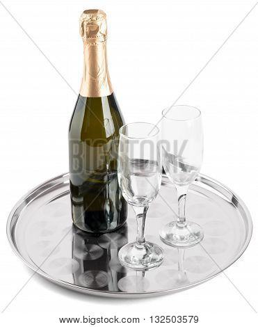 Champagne bottle and two champagne glasses on tray isolated on white background. Top view