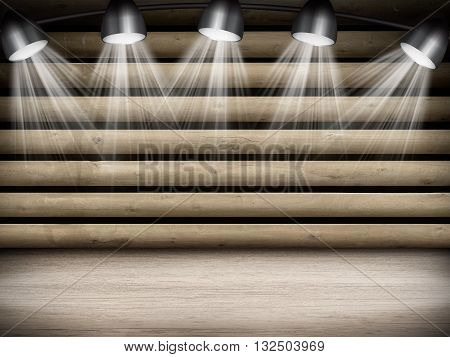 Illuminated empty brown concert stage with rays of light