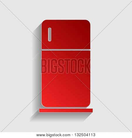 Refrigerator sign illustration. Red paper style icon with shadow on gray.