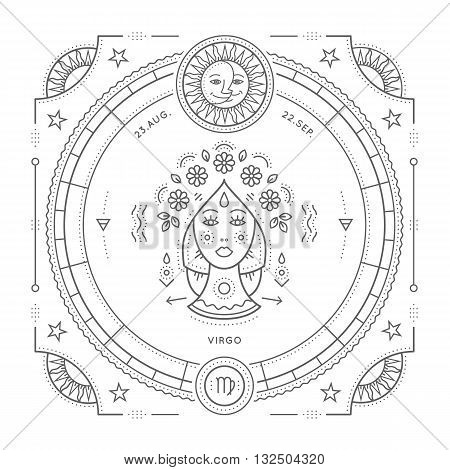 Vintage thin line Virgo zodiac sign label. Retro vector astrological symbol mystic sacred geometry element emblem logo. Stroke outline illustration. Isolated on white background.