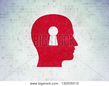 Learning concept: Painted red Head With Keyhole icon on Digital Data Paper background