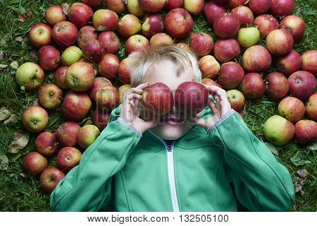 Child blond boy lying on the green grass with apples background, holding, eating and biting apple. Make faces, funny grimace, do sunglasses