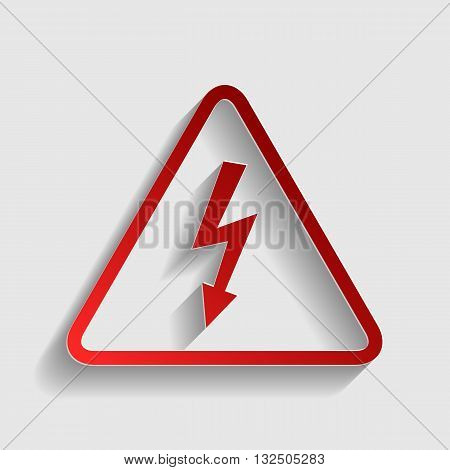 High voltage danger sign. Red paper style icon with shadow on gray.