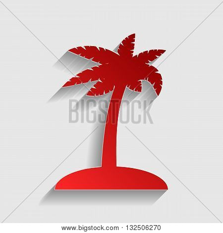 Coconut palm tree sign. Red paper style icon with shadow on gray.