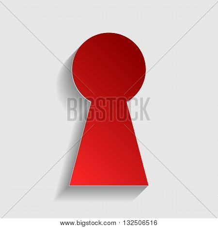 Keyhole sign illustration. Red paper style icon with shadow on gray.