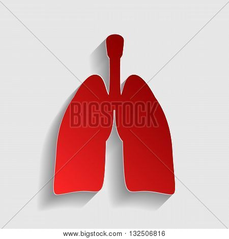 Human organs Lungs sign. Red paper style icon with shadow on gray.