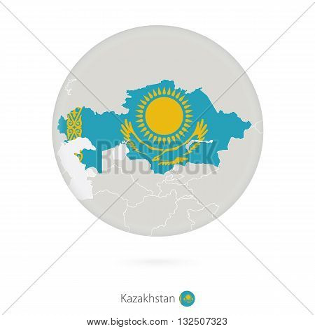 Map Of Kazakhstan And National Flag In A Circle.