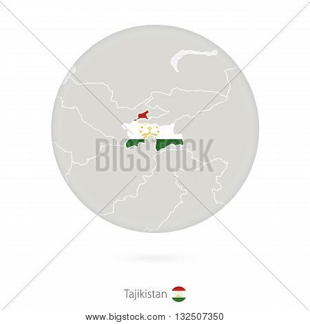 Map Of Tajikistan And National Flag In A Circle.