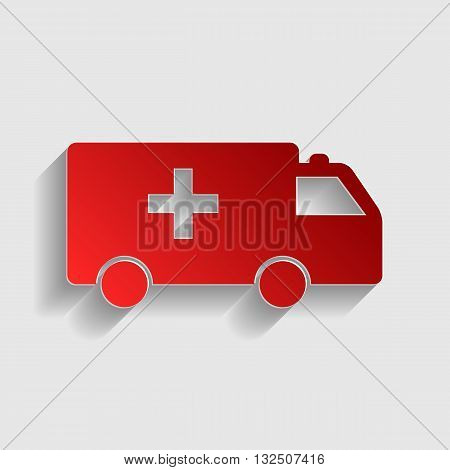 Ambulance sign illustration. Red paper style icon with shadow on gray.