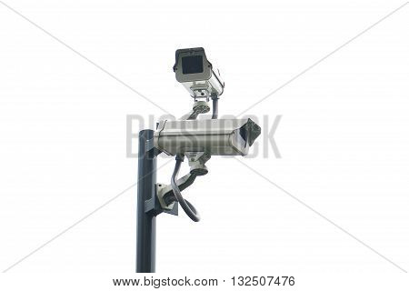 Isolated dual cctv on the pole with white background