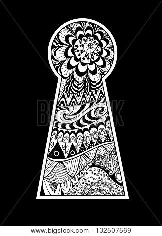 Hand drawn doodle, zentangle, floral design elements in a shape of keyhole.