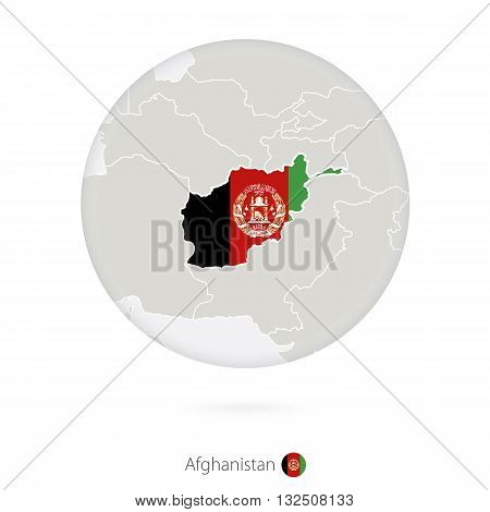 Map Of Afghanistan And National Flag In A Circle.