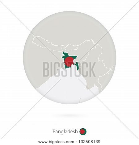 Map Of Bangladesh And National Flag In A Circle.