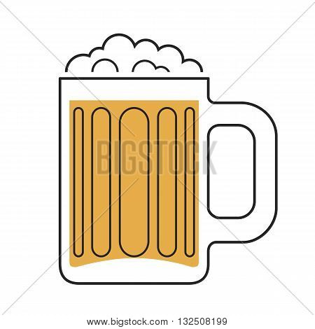 Mug of beer with foam isolated illustration