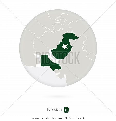 Map Of Pakistan And National Flag In A Circle.