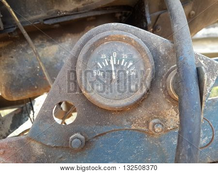 close up old dirty rusty meter car