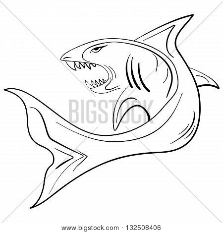 Hand-drawn large shark with an open mouth grunge ink sketch shark