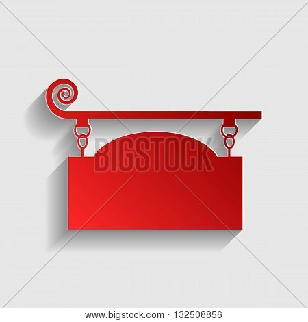 Wrought iron sign for old-fashioned design. Red paper style icon with shadow on gray.