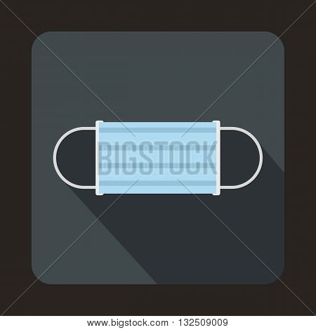 Disposable face mask icon in flat style on a gray background