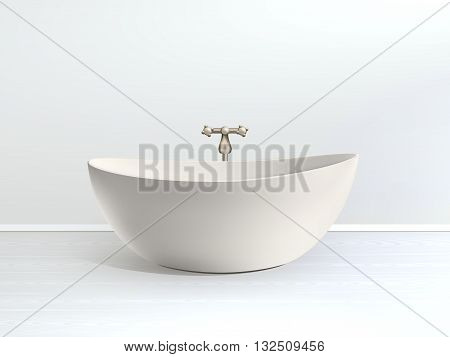 Bathroom interior poster bath in a modern style bathroom with golden accessories vector illustration