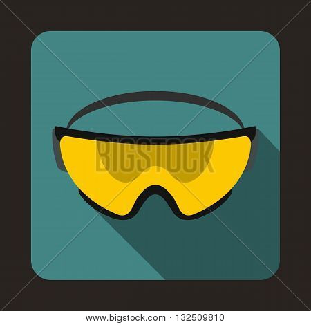 Yellow safety glasses icon in flat style on a blue background