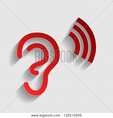 Human ear sign. Red paper style icon with shadow on gray.