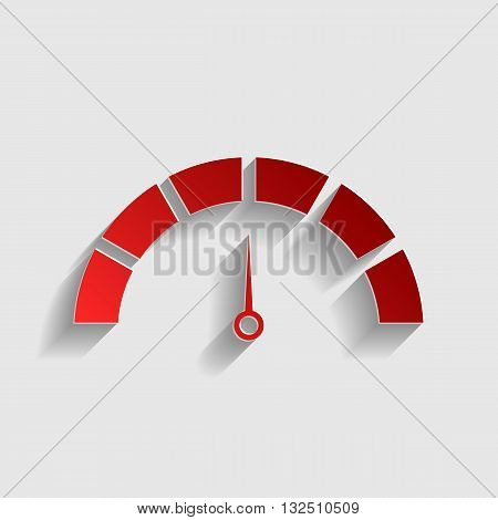 Speedometer sign illustration. Red paper style icon with shadow on gray.