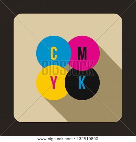 CMYK circles icon in flat style on a beige background