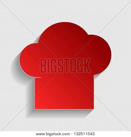 Chef cap sign. Red paper style icon with shadow on gray.
