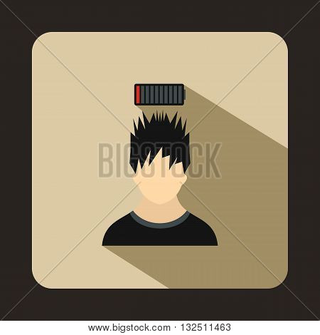 Man with low battery over head icon in flat style on a beige background